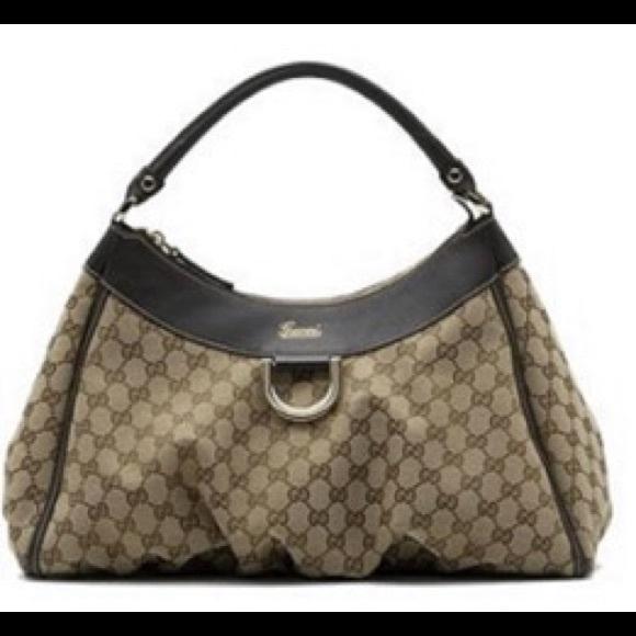 7cc8e1191af Gucci Handbags - Gucci Beige Brown Large D Gold Hobo Bag