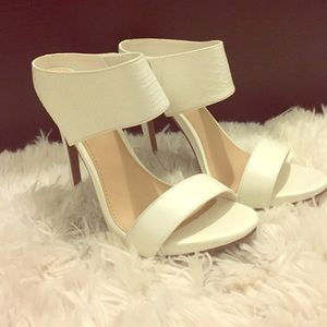 White faux leather heels! New!