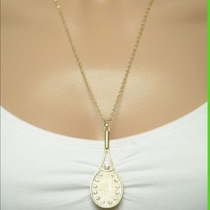 Gold tennis racket necklace