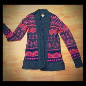 Mossimo Aztec Open Front Cardigan Gray MPink