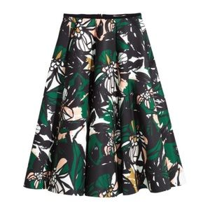 Patterned Scuba-Look Midi Skirt in Black Floral
