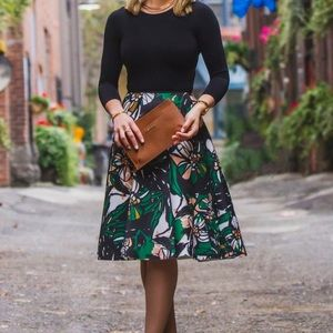 H&M Skirts - Patterned Scuba-Look Midi Skirt in Black Floral