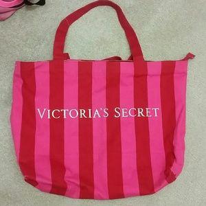 Victoria's Secret stripe pink tote