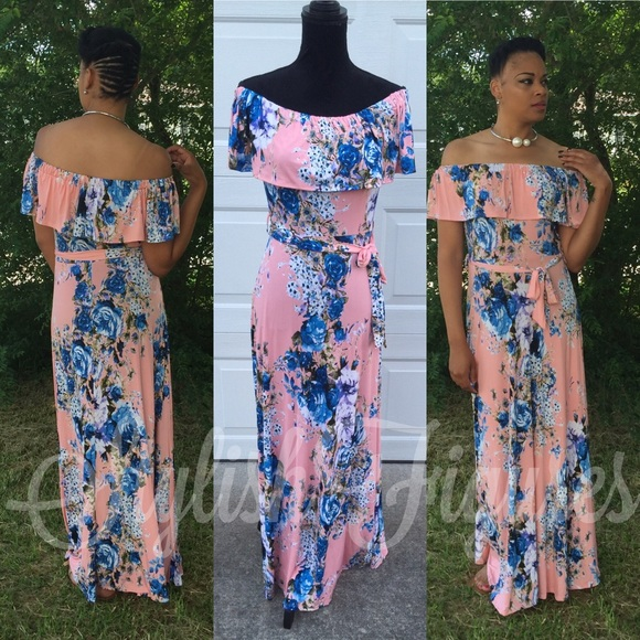 0326f0f424af Light Pink and Blue Off shoulder floral maxi
