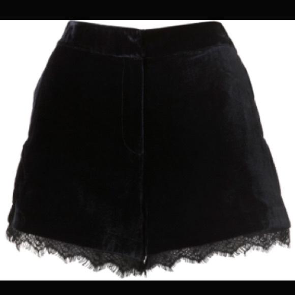 f8724c80e680 Topshop Navy Blue velvet shorts with black lace. M 5763736fbcd4a78fc300d158