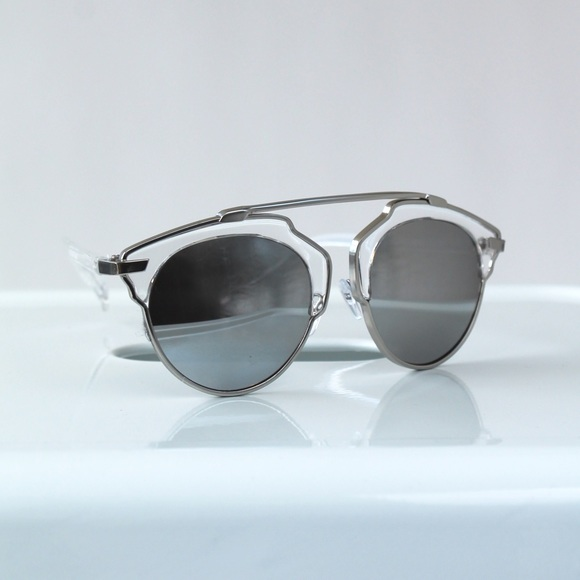 RGL Collection Accessories - Silver Mirrored Cateye Statement Sunglasses