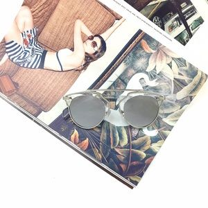 Silver Mirrored Cateye Statement Sunglasses
