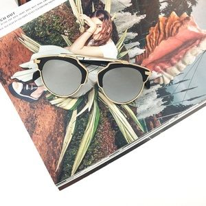 Gold & Black Mirrored Cateye Sunglasses