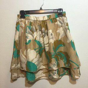 Anthropologie floral silk elastic skirt Sz S