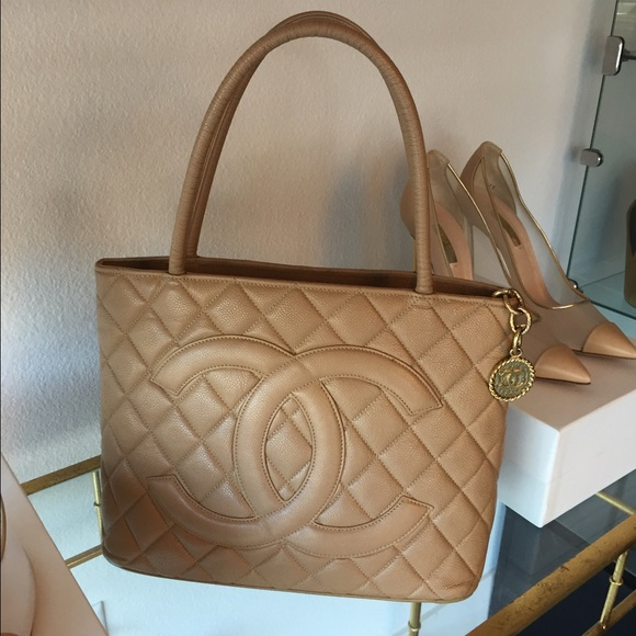quilted caviar chanel medallion orange tote