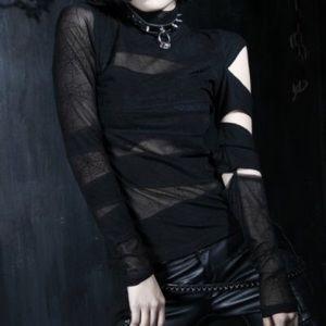 Spiderweb Black Slash Longsleeve Gothic Halloween