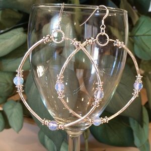 Jewelry - Moonstone and silver hoops