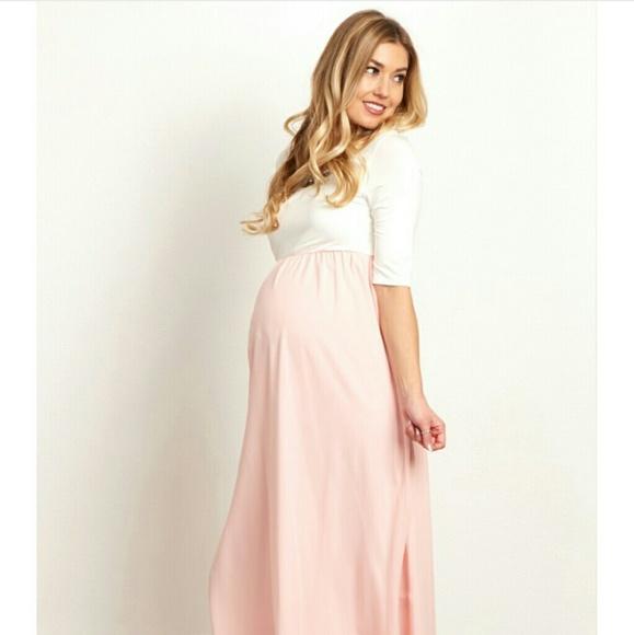 ea6d3f9b8d89 Pinkblush Maternity Colorblock Chiffon Maxi Dress.  M_576410ae99086a8164018b5a