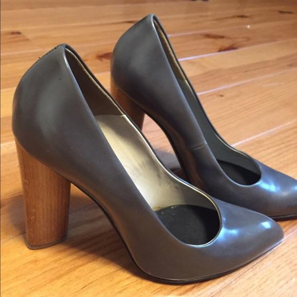 b481a4af494 Yves Saint Laurent Shoes | Ysl Grey Leather Pumps Wwood Heel | Poshmark