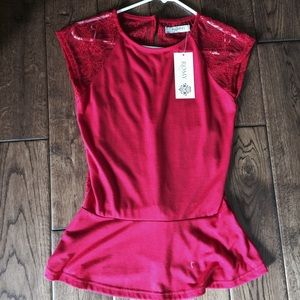 Romy Tops - Romy red lace peplum top. Sz. XSmall. New