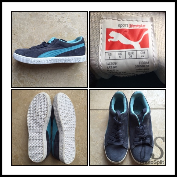 new concept 27a57 6cca0 PUMA Clyde Blue Suede Classic Sneakers NWT
