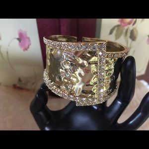 Adrienne Jewelry - Gold and Crystal Cuff Bracelet