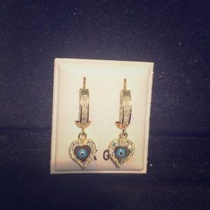 14k Gold Hoops Good Eye Heart Earrings