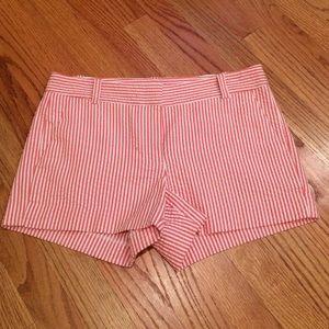 J.Crew red & white seersucker shorts
