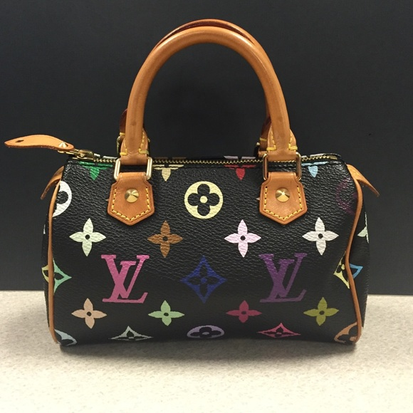 23797286bbe2 Louis Vuitton Handbags - Louis Vuitton Multicolor Black Mini Speedy