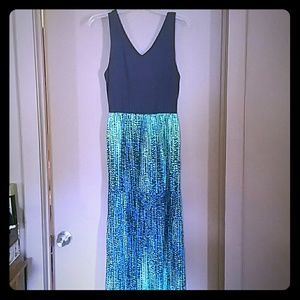 Blue and Green Maxi Dress