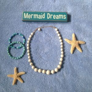 White and gold necklace/ aqua bracelet set
