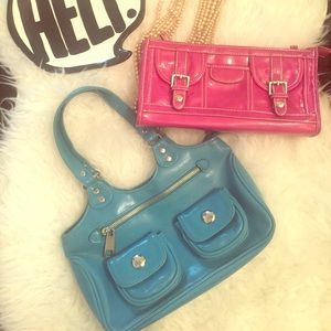 Blue Strapped Purse and Pink Clutch