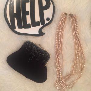 Vintage Velvet Black/Silver Bag