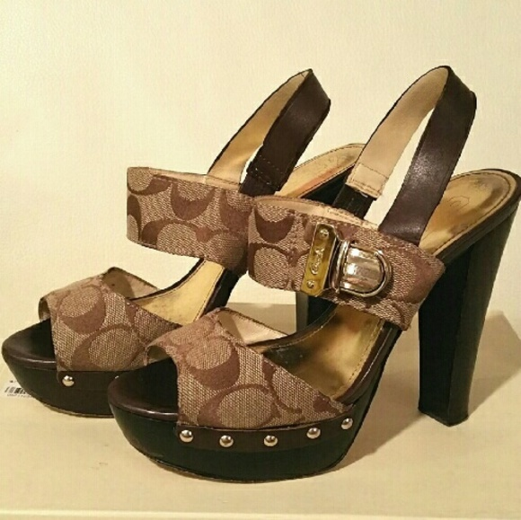 74 coach shoes coach platform buckle heels from