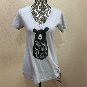 "Tops - V-neck ""Momma Bear"" T-shirt."