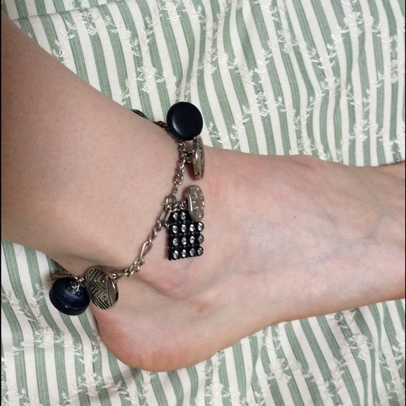 Vintage Jewelry - Handmade Button Gypsy Charm Anklet Jingle