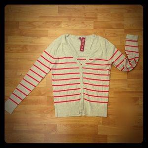 Merona Beige Pink Striped Lightweight Cardigan M