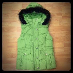 Faded Glory Lime Green Quilted Vest Fur Trim Hood