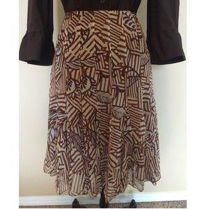 Ice Dresses & Skirts - EUC Silk Batik Print Brown & Cream Skirt 12