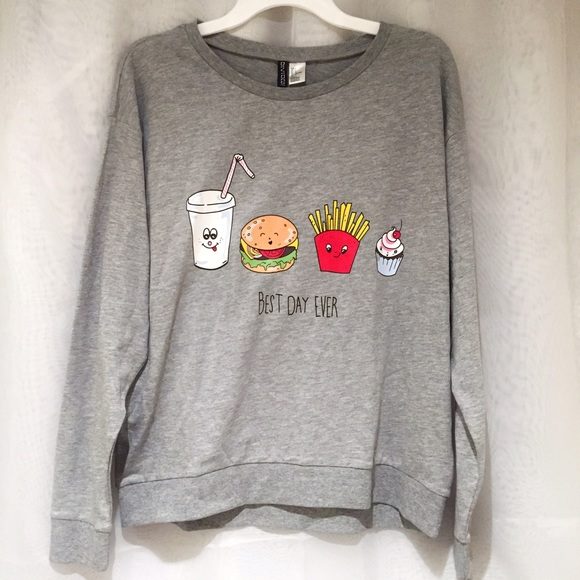 Hm Tops Hm Divided Best Day Ever Grey Sweatshirt Poshmark