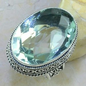 Jewelry - Green Amethyst 925 Silver Ring size:7 3/4