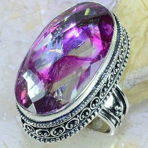 Snakeskin Quartz Antique 925 Silver Ring size6 3/4