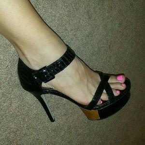 Bakers Shoes - Black Snakeskin High Heel Sandals