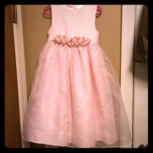 Girl 3T flower girl dress pink sheer overlay pearl