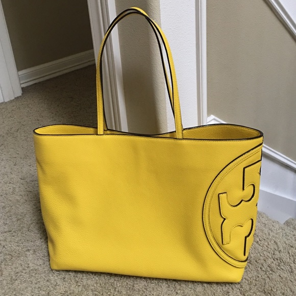 60aad290b7 Tory Burch Bags | All T East West Tote Bag Reptile Yellow | Poshmark