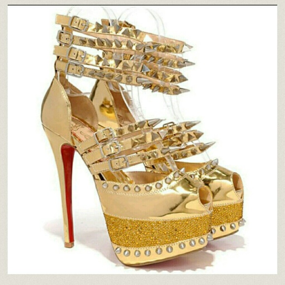 a916cc51877b Christian Louboutin Shoes - Gold CL Strappy studded spiked Platform Heels
