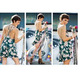 SMYM emerald city floral martini mini dress M L