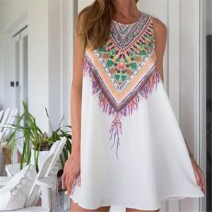 🌟 White Tribal Print Shift Dress