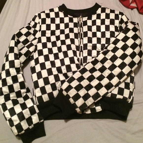 Black and white checkered bomber jacket – Modern fashion jacket ...