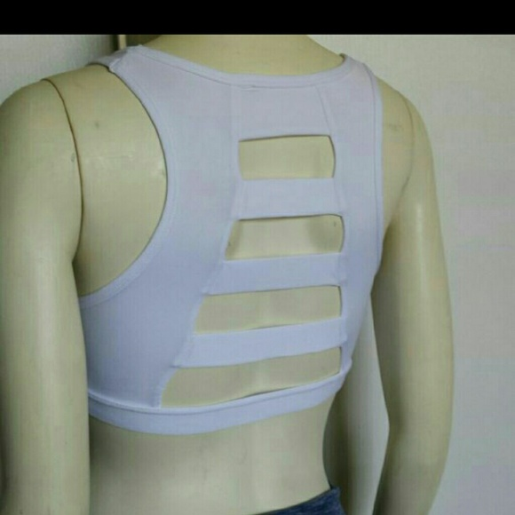 9bb5f8a254375 white back cage ladder sports bra