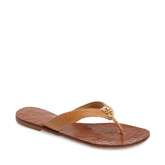 e316b3d0032 ... leather thong flip flops gold logo size 10.5 52fc9 13861  official  store tory burch thora tan thong sandals 9 98af9 4116f