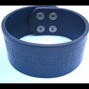 Jewelry - Tooled All Black Leather Wrist Strap Bracelet