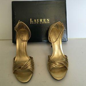 NEVER WORN Lauren Ralph Lauren gold heels size 8