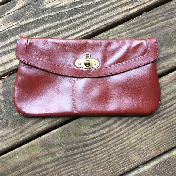 8b58334fe9c26 Etienne Aigner Bags | Vintage Handmade Leather Clutch Red Brown ...