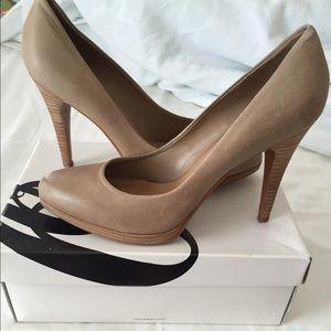 64ed16768de Nine West Shoes - Nine West Taupe Leather Rocha Heels